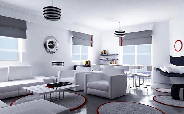 Дизайн помещения в светлых тонах хай-тек