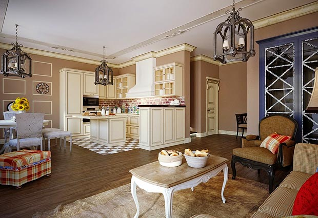 Гостиная с кухней прованс фото интерьер