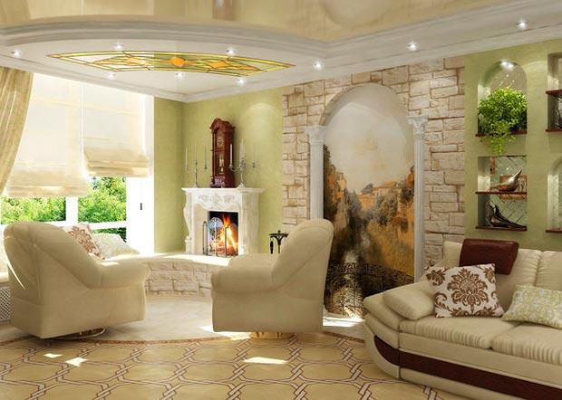 Фреска в дизайне гостиной