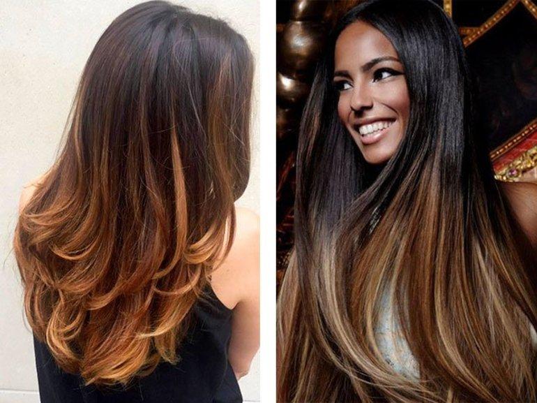 окрашивание волос шатуш на темные волосы в салоне