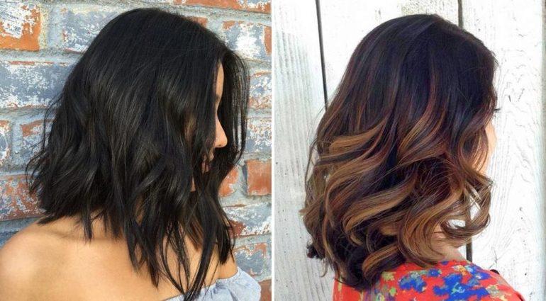 Окрашивание темных волос в технике шатуш