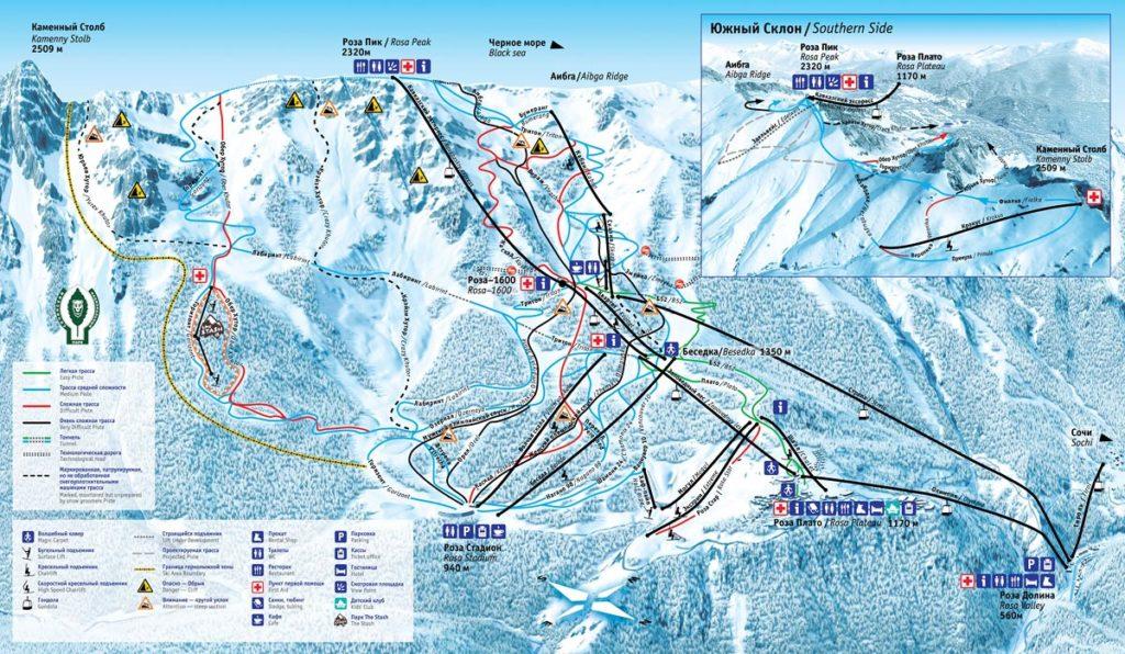 Подробная карта трасс курорта