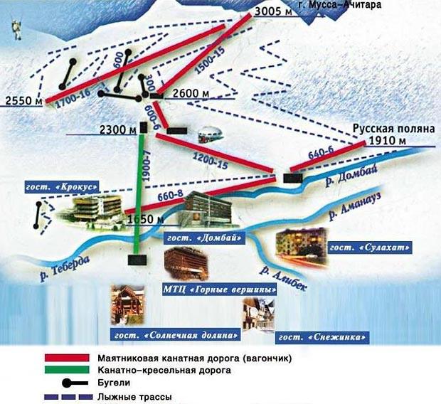 Схема трасс Домбая