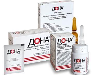 Дона (Глюкозамин) - таблетки, ампулы, порошок