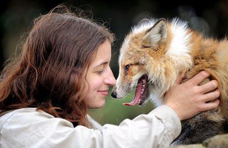 Девушка обнимает лису
